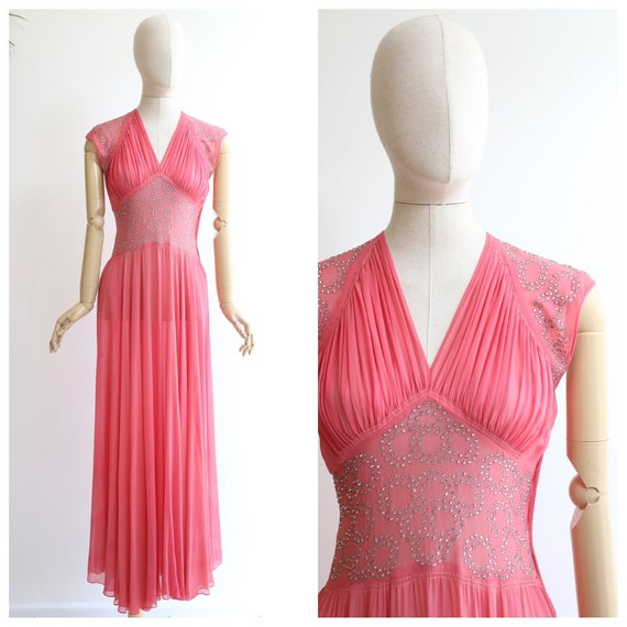 Vintage 1930's dress vintage 1930's pink dress 193