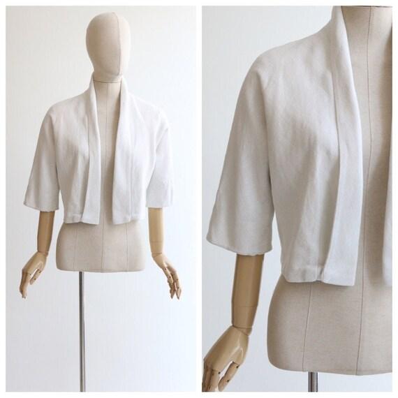 Vintage 1950's jacket vintage 1950's white linen j