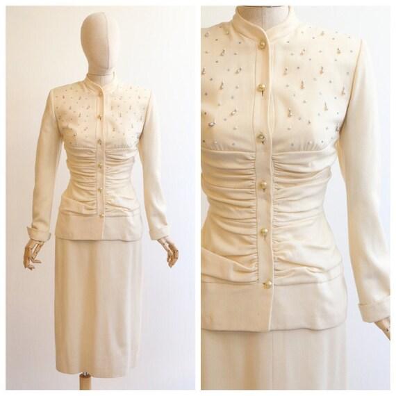 Vintage 1940's Lilli Ann suit vintage 1940's cream