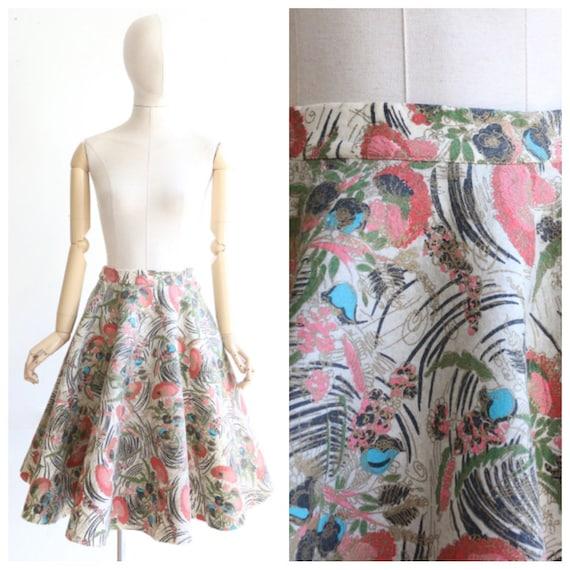 Vintage 1950's skirt vintage 1950s painted felt fl