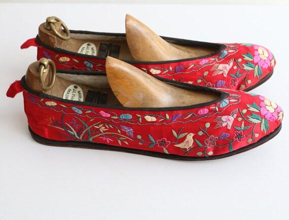 Vintage 1930's slippers vintage 1930's silk embro… - image 5