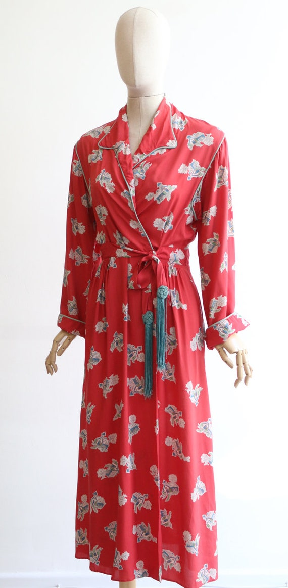 Vintage 1940's housecoat original 1940's coral pi… - image 7