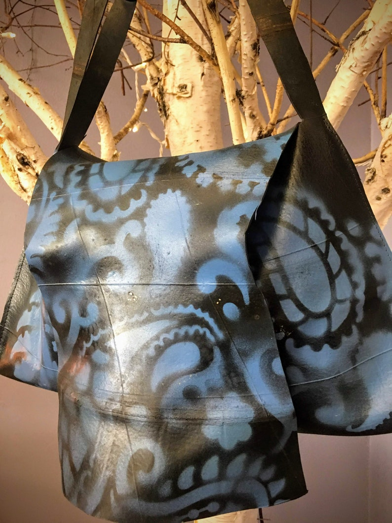 Inner Tube Rubber Hippie Books Designer Big Blue Tattoo Shoulder Bag Biker Babe Industrial Chic Messenger Tote Badass Paisley