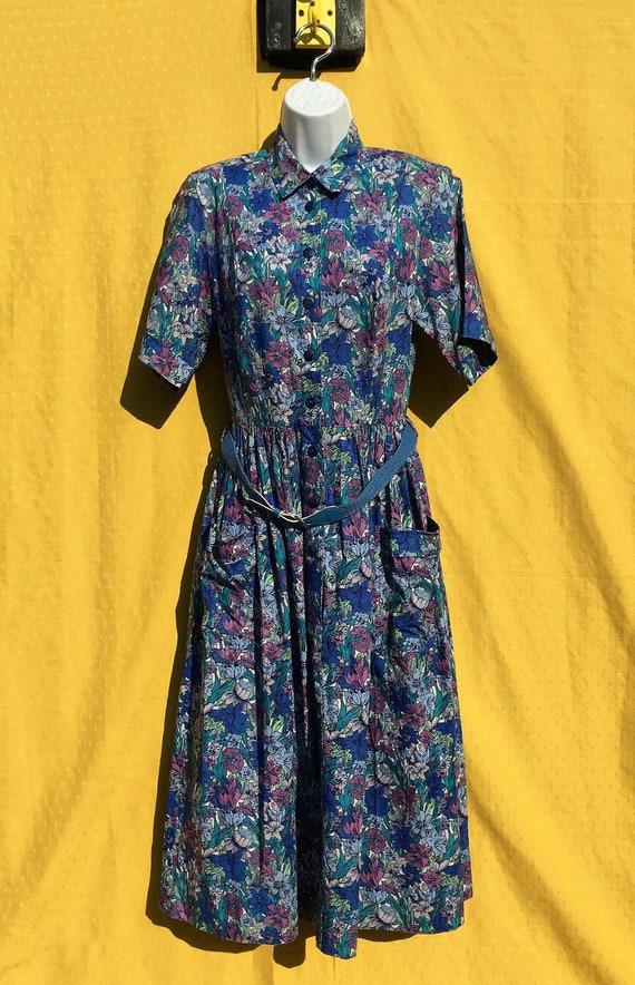 """Vintage 1970's """"Origin"""" Floral patterned belted co"""