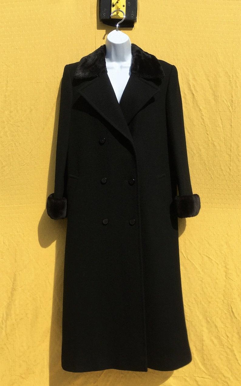 size UK 1214 Vintage 198090/'s Windsmoor Pure wool regency style black coat