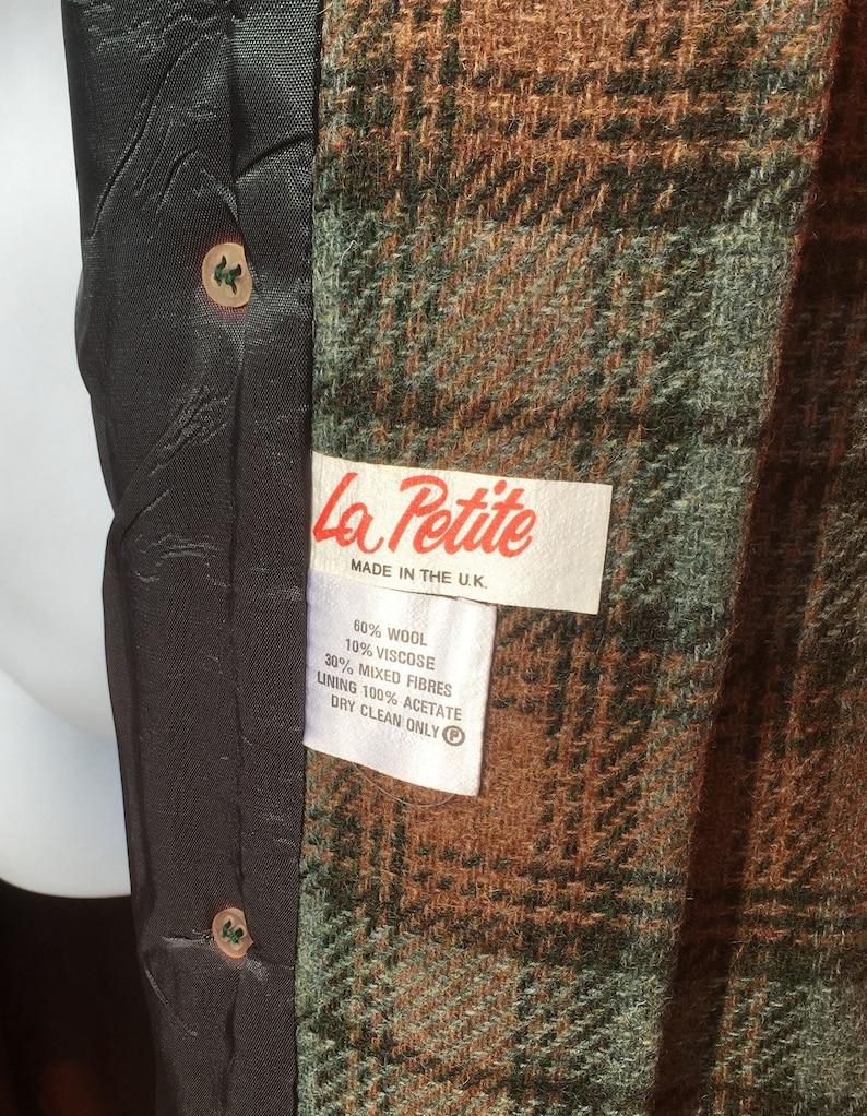 Vintage 1970/'s La Petite British made  high wool blend greenbrown windowpane overcoat Size UK 10?