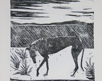 Greyhound in Spain art block print