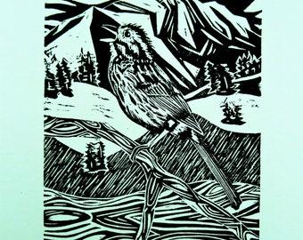 Song Sparrow bird art block print