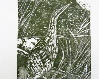 Bittern bird art block print