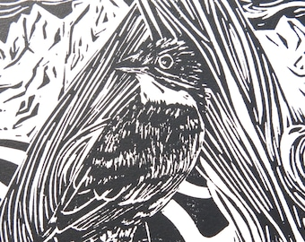 Olive-sided Flycatcher linoleum block print