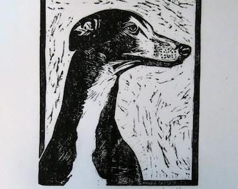 Greyhound in Profile art block print