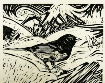 Dark-eyed Junco bird art block print