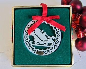 "Lenox China Yuletide Ornament: Ceramic ""Santa in Sleigh"" Boxed Christmas Tree Ornament 1988"