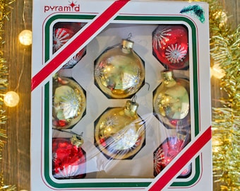 Pyramid Decorative Starburst Glitter Ornaments by Rauch Industries: Glass Red Gold Christmas Holiday Ball Ornaments