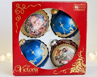 Victoria Boxed Round Christmas Tree Ornaments: Set of Four; Two Old Fashioned Santa and Two Blue Gold Nativity Scene