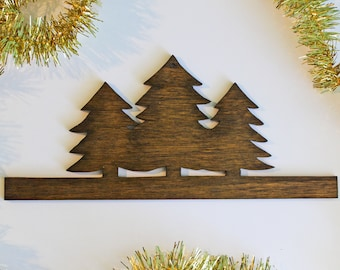 Vintage Nature Wood Cut-Out Wall Décor: Holiday Christmas Cabin Decor Evergreen Tree Silhouette Wall Art