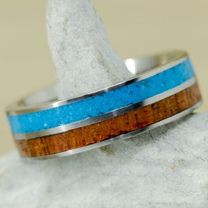 Koa Wood Women/'s Ring: Gold Turquoise Inlays; Channels Stone Forge Studios