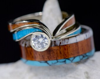Stone Forge Studios Engraved Mountains Men/'s Ring: Rosewood Turquoise Antler