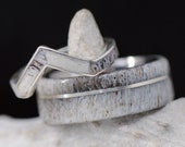 Wedding Ring Set Antler and Metal V-Ring Offset and Channel - Stone Forge Studios