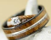 Wedding Ring Set Jack Daniels Wood, Antler, Diamond Channels and Engagement