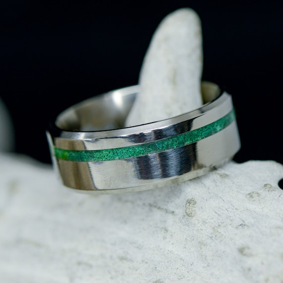 Stone Forge Studios Men/'s Ring Malachite; Center 8mm