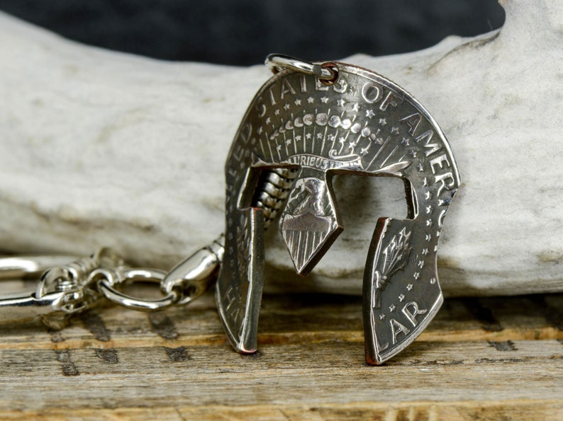 9b8c415a1bf7 Spartan Helmet Key Chain Cut from a Coin half dollar Size
