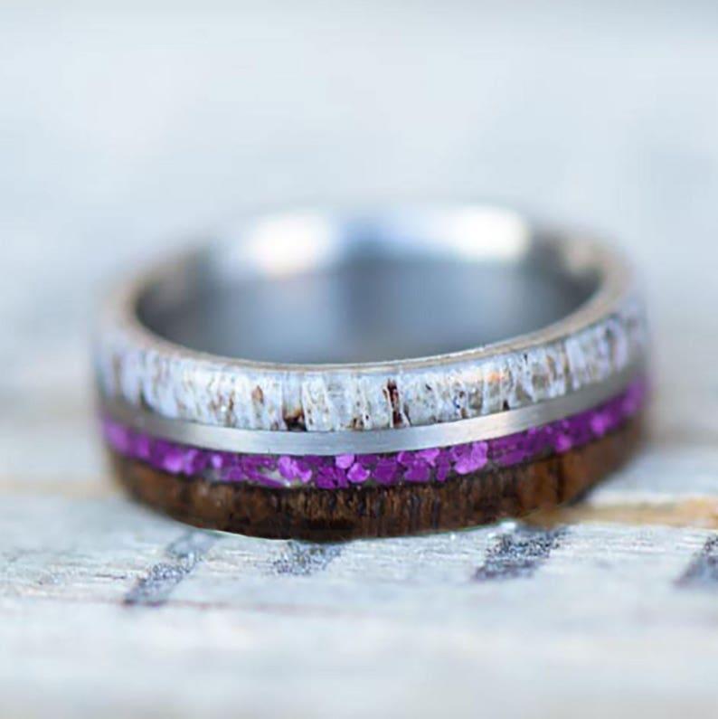 Purple Sugilite Stone Forge Studios Walnut; 4 Overlays Women/'s Ring: Elk Antler Metal