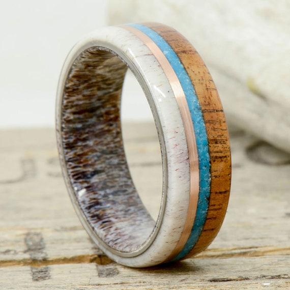 Stone Forge Studios Cactus Engraving; 3 Overlays Men/'s Ring: Koa Wood TurquoiseMalachite Edges