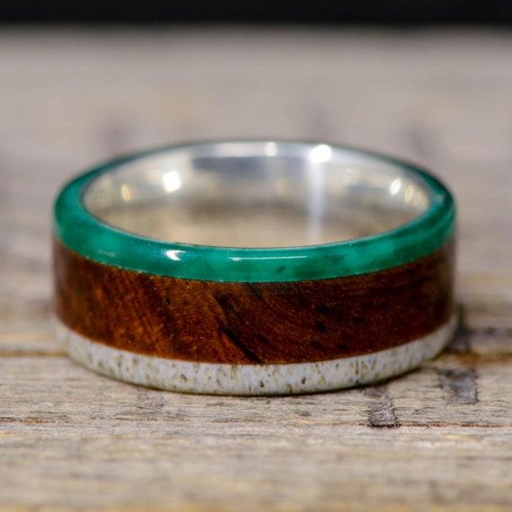 Men/'s Ring Antler Stone Forge Studios Yucatan Rosewood Inlay; Offset