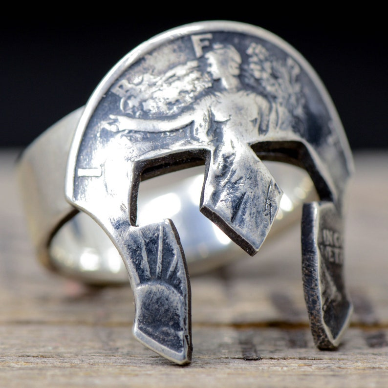 31786c596610 Spartan Helmet Ring Cut from a Silver Half Dollar Coin