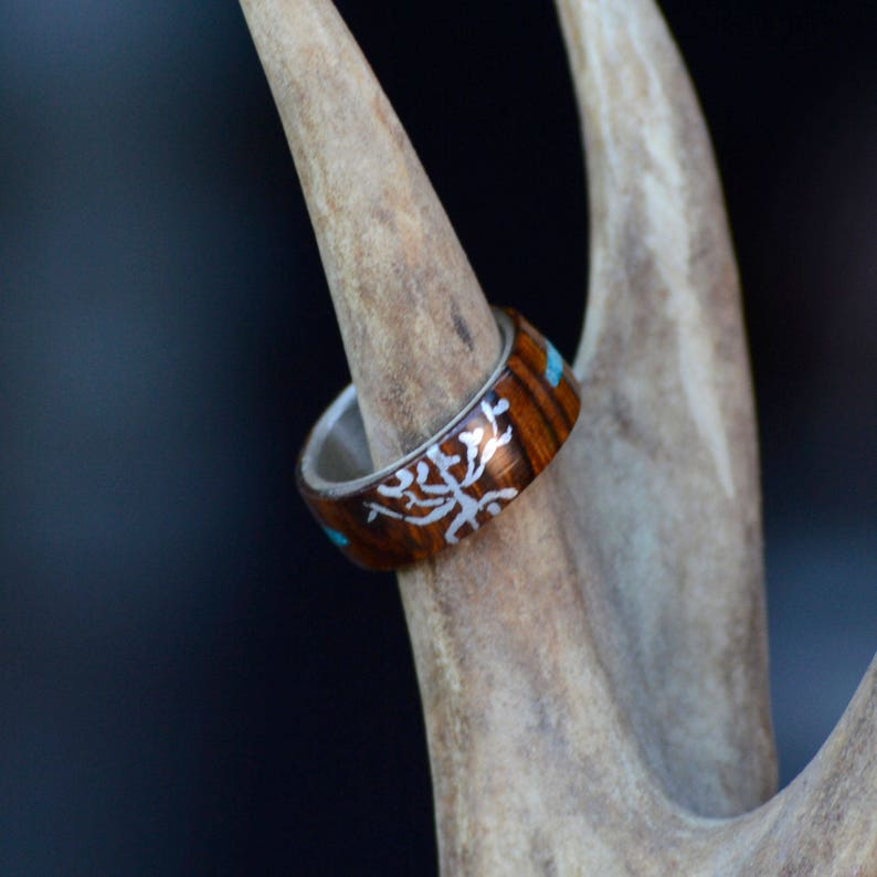 Silver Tree,Turquoise Stone Inlay; 1 Overlays With Men/'s Ring Stone Forge Studios Desert Ironwood
