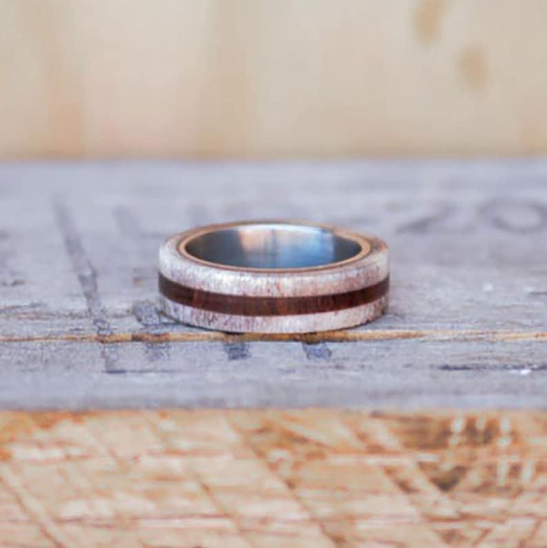 Stone Forge Studios Women/'s Ring Rosewood Inlay; Center Elk Antler