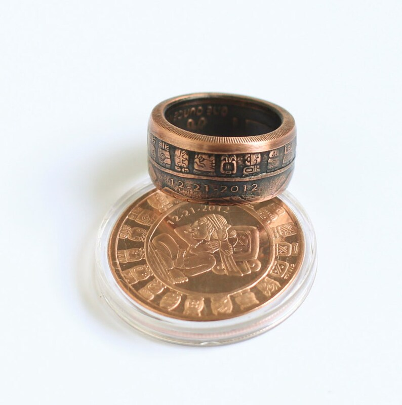 Aztec Mayan Calendar Coin Ring 1 Oz Handcrafted .999/% Copper Size 9-16.