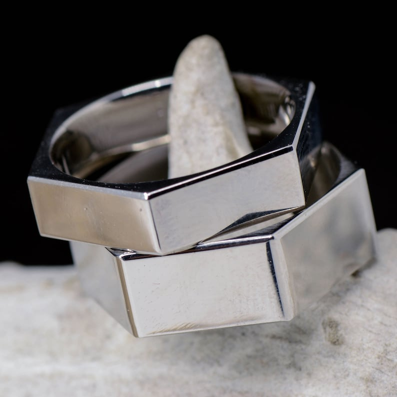 Wedding Ring Set Stainless Steel Hex Nut Ring; 1 Overlay 8mm and 6mm Stone Forge Studios