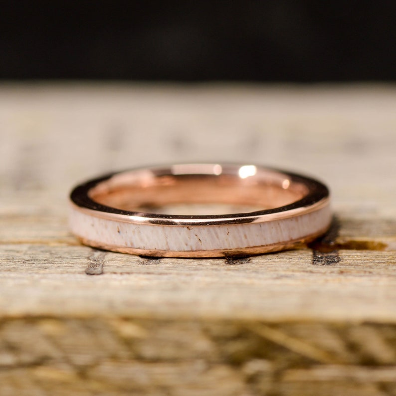 Antler Inlay; Channel Gold Stone Forge Studios Women/'s Ring