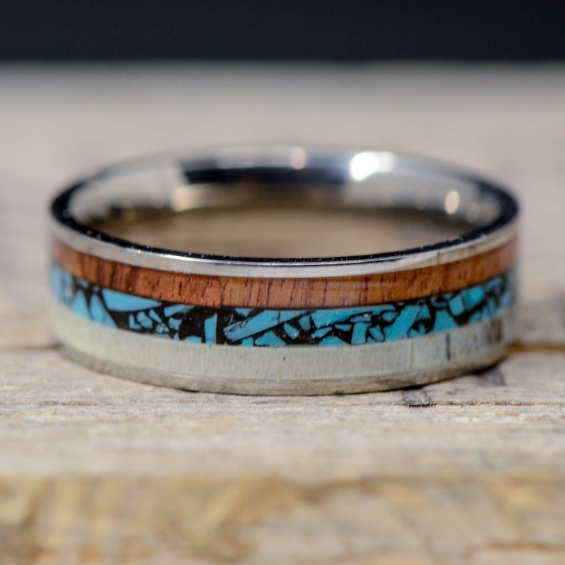 Turquoise Walnut; Channel TungstenCeramic Men/'s Ring: Antler Stone Forge Studios