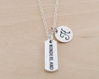 Wonderland Charm - Personalized Necklace - Custom Initial Necklace- Silver Necklace - 18' chain