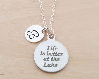 Life Is Better At The Lake - Personalized Custom Initial Necklace - Silver Necklace - Initial Jewelry - Monogram Necklace - Gift for Her