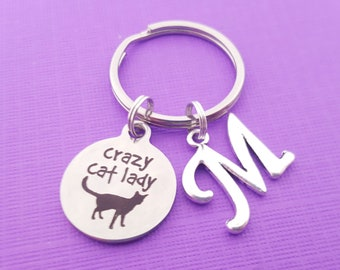 Cat Lover Gift One Cat Away From Crazy Cat Lady Key Chain