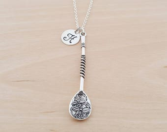 Cute Spoon Charm - Personalized  Initial Necklace - Silver Necklace - Initial Jewelry - Monogram Necklace - Gift for Her