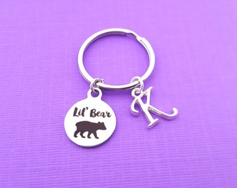 Lil  Bear Key Chain - Lil  Bear Keychain - Personalized Initial Keychain -  Personalized Gift - Gift for Him   Her - Lil  Bear Charm e63455b770