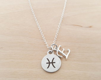 Pisces Necklace - Pisces Charm - Zodiac Necklace - Zodiac - Personalized Necklace -Custom Initial Necklace- Silver Necklace - Gift For Her