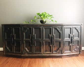 Distressed Finish Sideboard Buffet   Console Cabinet   Entertainment Center