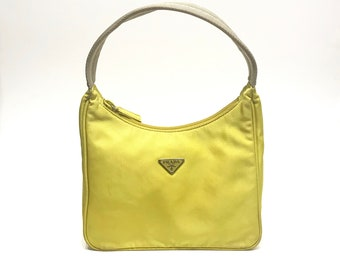 071991ec00e0 PRADA Neon Yellow Mini Nylon Hobo Tessuto Sport Handbag Shoulder Bag Purse