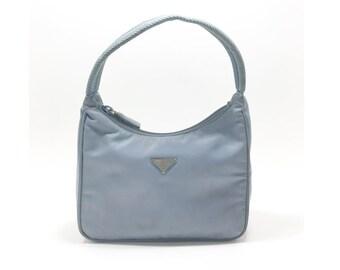 PRADA Pale Blue Mini Nylon Hobo Tessuto Sport Handbag Shoulder Bag Purse 9e0fc64007dad