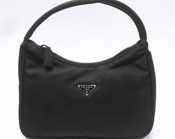 a3fa9a313c0239 PRADA Black Mini Nylon Hobo Tessuto Sport Handbag Shoulder Bag Purse