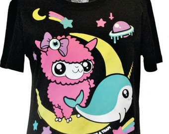 NewBreed Girl: Dont Grow Up Tee featuring signature characters Alpaca Moon & Narwhal