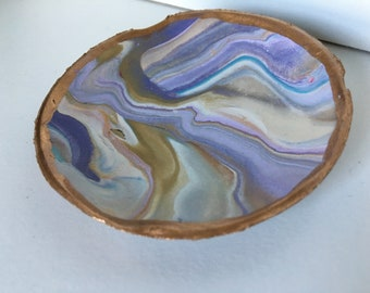 Jewelry Dish/Bauble Bowl (purple, gold, white)