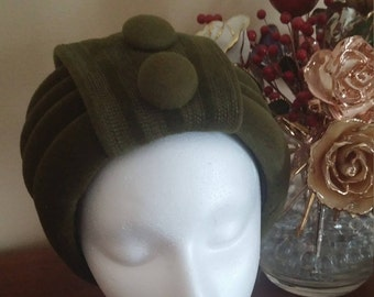 Vintage Olive Green Swirly Turban Helmet Style Hat by Otto Lucas