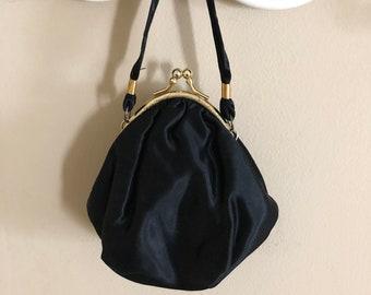 Black Satin Evening Formal Party Bridal Bag Handbag Purse Clutch Fabric Lining Embossed Floral Gold Tone Frame Ladies Fashion Accessory